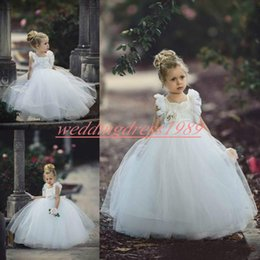 Cute blaCk baby models online shopping - Cute White Flower Girls Dresses Girls Party A Line Garden Tulle Toddler Pageant Baby Birthday Gowns Kids Formal Wear First Communion Dress