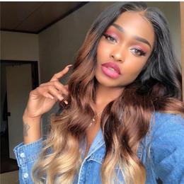 $enCountryForm.capitalKeyWord NZ - 1b 4 27 body wave Lace Front Wig Glueless Full Lace Wigs Human Hair Ombre Wig three tone Brazilian Virgin Hair