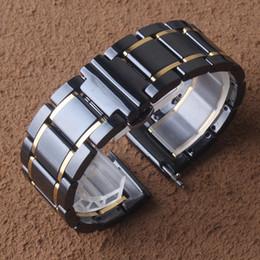 $enCountryForm.capitalKeyWord Australia - High Quality Ceramic Watchband Strap Bracelet Black with gold Fashion Watches accessories 20mm 22mm For Samsung Gear S2 S3 Galaxy 46mm 42mm