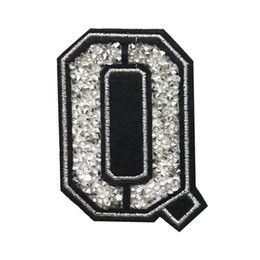 Wholesale rhinestone iron patches online shopping - Q Letter Hot Fix  Rhinestone Patch Sew Iron On b14b5fa8443f