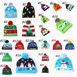 led ball hats NZ - Twenty-two New LED Halloween And Christmas Knitted Hats Parent-child Style Ball Hat Winter Warm Hat Party Gift Props ZZA1274 30pcs