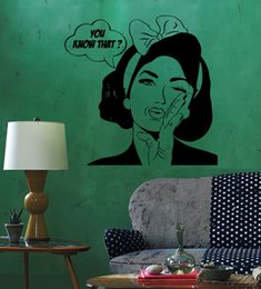wall stickers sexy girls UK - Sexy Girl Woman Teen Wall Stickers Quote You Know What Pop Art Bedroom Wall Decal Waterproof Vinyl Autocollant Mural