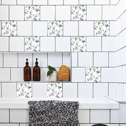 Plastic Bathroom Wall Tiles Australia - 15cm 20cm Self-Adhesive Wall Decal Magnolia Pattern Waterproof Bathroom Waterproof Kitchen Anti Oil Tiles Stickers TS016