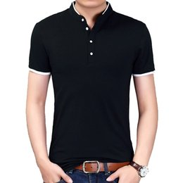 Fashion Men Clothes T Shirt Collar Australia - Browon Summer New Fashion Brand Clothing Men T Shirt Short Sleeve Mandarin Collar Casual Tshirt Men 2019 New Arrival