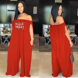 27bb6fdf09 Women Black Smart Letter Print Jumpsuit Spring Summer 2019 Off Shoulder  Rompers Long Pants Jumpsuits loose wide leg pant Plus size hot B2141