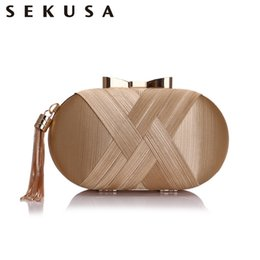 small bridal clutches Canada - Sekusa Bow Metal Women Day Clutches Tassel Luxurious Fashion Lady Evening Bags Small Party Wedding Bridal Chain Shoulder Handbag Y19061301