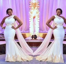 Lace One Shoulder Wedding Gown Australia - 2019 Elegant Nigerian Style Mermaid Wedding Dresses One Shoulder Lace Applique Satin Formal Bridal Gowns Train Cheap Plus Size Wedding Dress