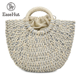 straw drawstring NZ - EaseHut Women Handbag Drawstring Rattan Bag Crochet Patterns Fastening Large Capacity Beach Holiday Vacation Woven Straw Bag