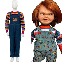 Wholesale cosplay costume resale online - Child s Play Cosplay Chucky Costume Andy Barclay terror movie Buddi Doll Full Set Lakeshore Strangler Halloween Kids Costumes