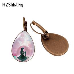 $enCountryForm.capitalKeyWord NZ - 2019 New Little Mermaid Moon Tear Drop Ear Clip Full Moon With Mermaid Earring Clips Glass Dome Handmade Jewelry