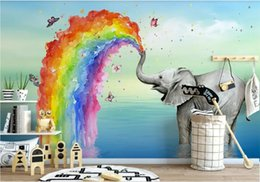 Discount elephant picture home decor 3d wallpaper custom photo mural Nordic simple cute elephant watercolor children's house background wall home decor