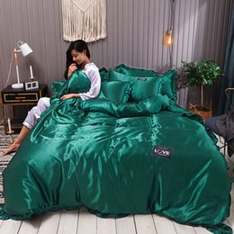 LiLac bedding online shopping - Washed Pure Silk Four Three piece Silk Slip Quilt Set Bedding Sets Good Quality Bed Comforters Sets Flat Solid Color King Size Bedding Sets