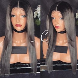 Discount peruvian straight hair styles - New style 8A Silk straight Brazilian Lace Front Wigs 1bT gery Human Hair full Lace Wigs Medium Cap silk top No shedding