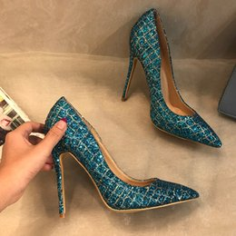 sexy glitter heel shoes Canada - Casual Designer Sexy lady fashion women pumps blue glitter stripe point toe high heels shoes pumps 12cm 10cm 8cm brand new