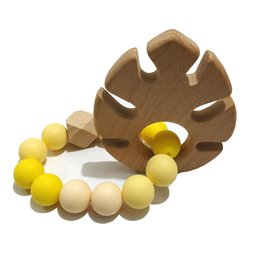 $enCountryForm.capitalKeyWord Australia - Baby Teething Bracelet Natural Wood Teether Ring BPA-Free Silicone Teething Beads Toy Newborn Shower Gift Baby care bracelet teether
