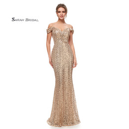 7c0267e0f08 2019 Sexy Sparkly Off The Shoulder Sequined Mermaid Party Prom Dresses Deep  V-Neck Criss Cross Backless Sleeveless Hot Sale Evening Gown