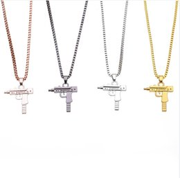$enCountryForm.capitalKeyWord Australia - 4 Color Accessories Fashion Hot Pistol Gun Uzi Necklaces men Hip Hop Dance Franco Chain Maxi Charm Long Pendant Necklace