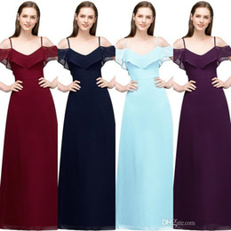 winter evening cocktail dresses UK - Babyonlinedress In Stock Spaghetti Prom Dresses Long Sexy Backless Zipper Back Chiffon Prom Gown Cheap Evening Party Dresses CPS804