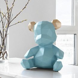animal statues home decor Canada - resin home decor sculpture bear Figurine decoration bear ornament in home office garden children x'mas gift resin animal statue T200611