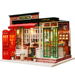 Coffee Housing Australia - Miniature Coffee Shop Model Dollhouse Furniture Kits DIY Wooden Dolls House With LED Lights Handmade Children Birthday Gift