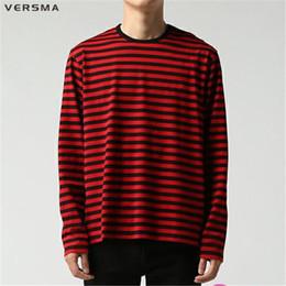 $enCountryForm.capitalKeyWord UK - Versma Korean Ulzzang Harajuku Gd Black White Striped T-shirt Men Women Unisex Loose Oversized Extra Long Sleeve Couple T Shirt T2190615