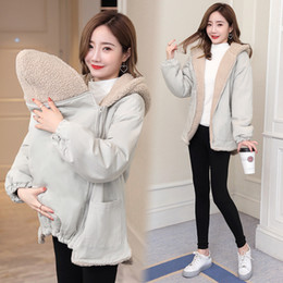 Kangaroo clothing online shopping - Winter Coats Kangaroo Mother Jacket Maternity Clothes Top Fur Hooded Coat For Pregnant Women Clothing Pregnancy Outderwear Mujer SH190917