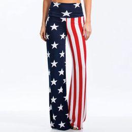 $enCountryForm.capitalKeyWord Australia - Summer Fashion Wide Leg High Waist Flag Print Striped Trousers Casual Loose Drawstring Cargo Pants Women C19041102