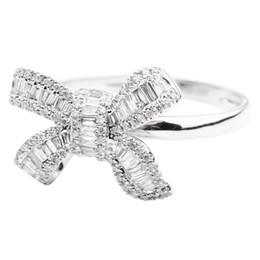 Copper Full Finger Rings Australia - BLUELANS Wedding Party Luxury Full Rhinestone Bow Women Finger Ring Bridal Jewelry Gift