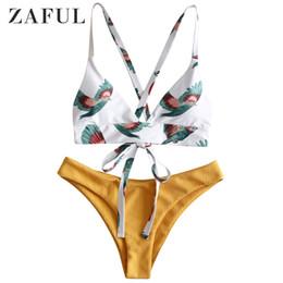 2734058cebe9a1 ZAFUL Women Bikini Swimsuit Bird Color Block Criss Cross Bikini Set Lady  Sexy Swimwear Summer Beach Bathing Suit