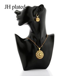 dubai gold pendant sets Australia - JHPlated African Dubai New Fashion gold color jewelry sets for women girls gifts wedding Pendant Necklace and Earrings sets