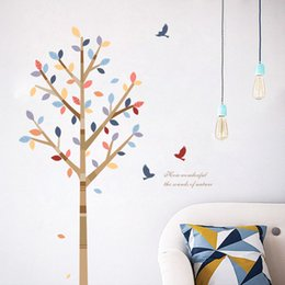 $enCountryForm.capitalKeyWord Australia - Multicolor Tree and Birds Wall Art Stickers Vinyl Removable Large Nursery Decal for Kids Room Home Decor