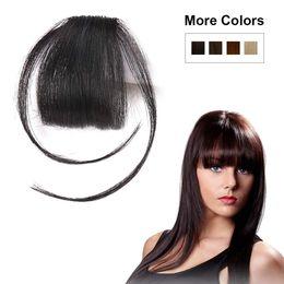 Temple Hair Australia - Natural Real Human Hair Flat Bangs Fringe Hand Tied MiNi Hair Bangs Fashion Clip-in Hair Extension (Flat Bangs with Temples,Natural Black)