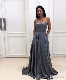 $enCountryForm.capitalKeyWord NZ - Dark Grey A-Line Prom Dresses Halter Satin Formal Dress for Girls Long Evening Gowns with Pockets vestido brillante fiesta