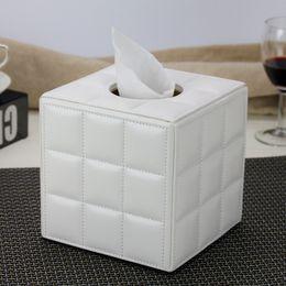 Paper Table Roll Australia - Leather Tissue Box Napkin Paper Tube Barrel Home Living Room Coffee Table Restaurant European Creative E019