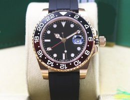 Pink ceramic watch online shopping - Factory Supplier K Pink Gold GMT Rubber Bracelet Sapphire black red Ceramic MM Automatic Mens Watch Watches
