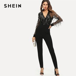 Woman Fashion Fitted Jumpsuit Australia - Shein Black Highstreet Sequin Embellished Mesh Fitted Long Sleeve Skinny Jumpsuit Autumn Fashion Party Women Jumpsuits Q190427