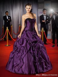 $enCountryForm.capitalKeyWord Australia - Backless Lace Appliques Formal pageant Prom dress 2019 New Dark Purple Ball Gown Detachable quinceanera dress 127