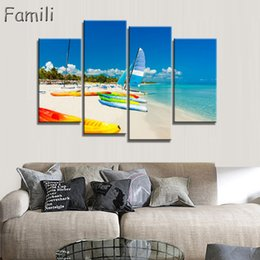 $enCountryForm.capitalKeyWord Australia - 4Pcs set Frameless Canvas Painting sailboat Painting for Living Room Wall Art Posters and Prints Modern Pictures Decoration