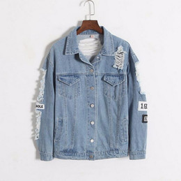 Rip Chains Australia - 2019 New frayed embroidery letter fashion patch women's denim bomber jacket Ripped Distressed Blue Coat Female