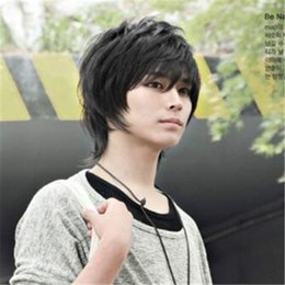 2cd5b9fc606 Hot Men New Short Black Natural Straight Korean Handsome Heat Resistant Cosplay  Party Hair Full Wig Wigs