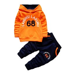 Hoodies Pants Kids Clothes Set UK - wholesale Spring Autumn Baby Clothing Sets Children Boys Tracksuits Kids Brand Sport Suits Kids Hoodies Sweatshirts+pants 2pcs