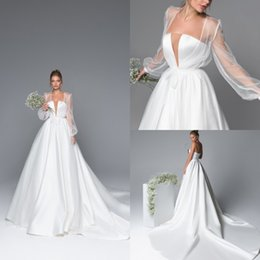 sweetheart wrap Australia - Eva Lendel 2020 Satin Wedding Dresses With Wrap Sweetheart abiti da sposa Bridal Gown A Line Country Sweep Train Wedding Dress