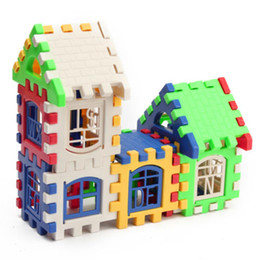 kids blocks wholesale NZ - 24pcs Building Blocks Kid House Building Blocks Construction Developmental Toy Set 3D Bricks Toy Construction Bricks