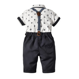 $enCountryForm.capitalKeyWord UK - New children's clothing set diamond striped tie cotton cardigan fake two-piece strap twill pants four-piece suit shirt Shirt and shorts