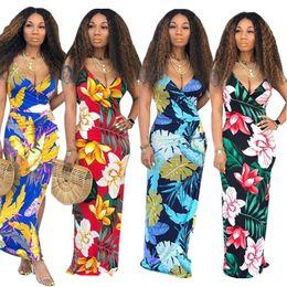 $enCountryForm.capitalKeyWord NZ - Women Sleeveless Maxi Dress Flora Spaghetti Bodysuit Long Dresses Bohemian Slim Dresses Sexy Backless Party Dresses Beach Long Skirt C51407