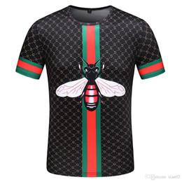 2019 лето новый с коротким рукавом футболки европейская и американская мода мужчины хип-хоп высокое качество пчелы вышивка тенденция рубашка футболка M-XXXL-1 на Распродаже