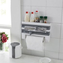 $enCountryForm.capitalKeyWord Australia - Mulifunction Kitchen Cling Film Sauce Bottle Storage Rack Paper Towel Holder Rack Wall Roll Paper Hanging Aluminium Foil