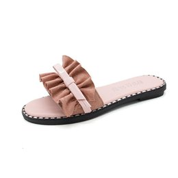 korean flat slippers Australia - Giyu Net red slippers female summer wear fashion 2018 new flat beach word drag Korean version of wild thick sandals and slippers