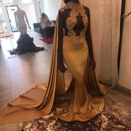 $enCountryForm.capitalKeyWord Australia - 2019 Amazing Gold Mermaid Evening Dresses with Shawl High Neck Bead Appliques Celebrity Gown Sweep Train Satin Women's Red Carpet Dress