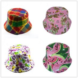 $enCountryForm.capitalKeyWord Australia - Fashion Flower Fruit Printed Bucket Hats Children Basin Topee Classics Fisherman Hat Casual Summer Sun Visor Boys Girls Helmet Cap B71602